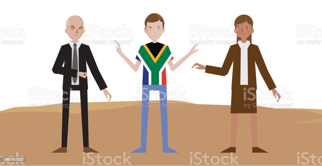 Two suited, man and woman arguing about something while South African guy trying to stop them vector drawing, Tshirt with a South African flag, In desert vector art illustration