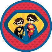 Two Superheroes Graphic Logo