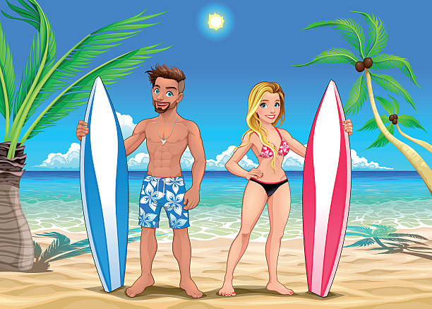 Zwei Surfer am Strand – Vektorgrafik