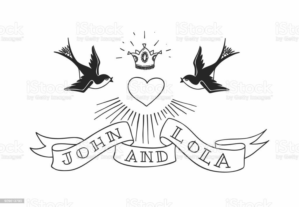 Zwei schlucken Vögel mit Herz und Krone im Tattoo-Stil. Vintage american Rebel Hochzeit Design. Vektor-illustration – Vektorgrafik