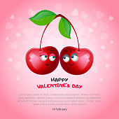 Two sweet cherries with the eyes of a couple in love on a pink background with hearts. Banner Happy Valentine's Day with place under your text. Vector, illustration