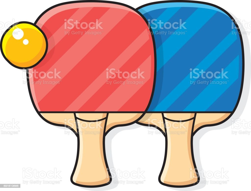 Two table tennis rackets and ball vector art illustration