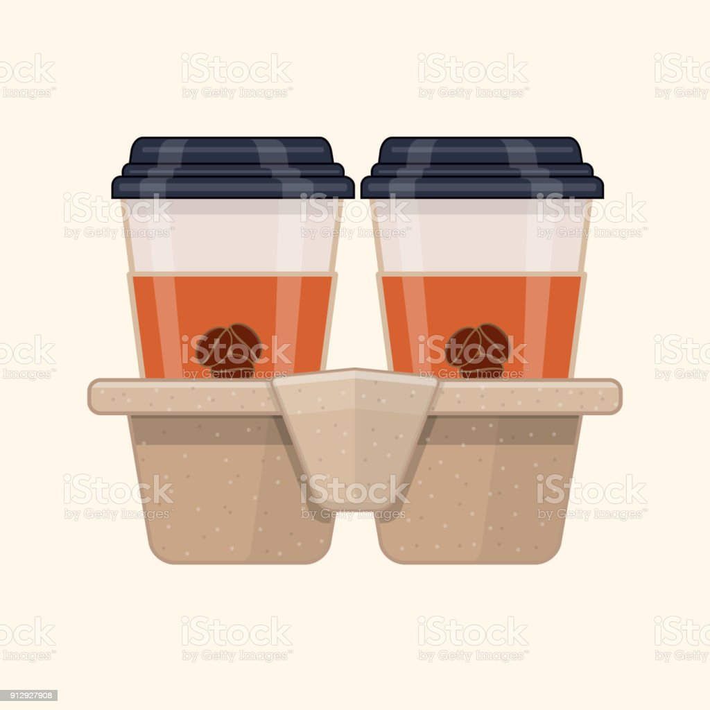 Two take-out coffee in holder vector art illustration