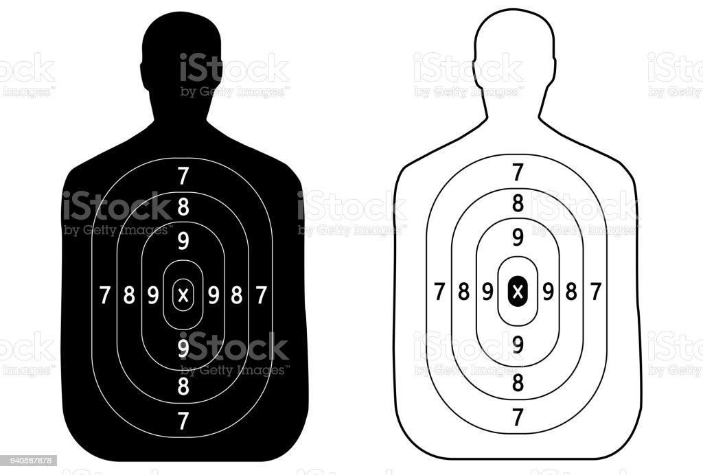 Dois alvos do contorno de um homem disparar - ilustração de arte em vetor