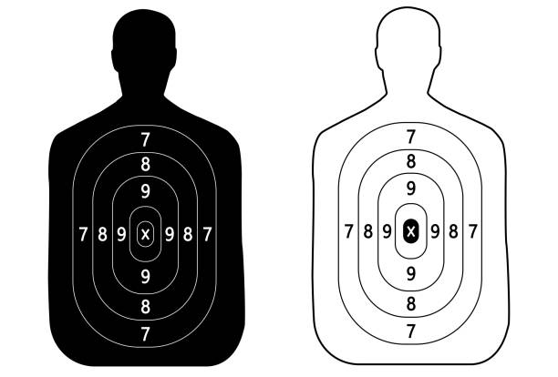 Two targets of the outline of a man shooting Two targets of the outline of a man shooting gun stock illustrations