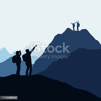 Two teams of climbers, men and women compete for victory or success. Loser and winner on the mountain - vector