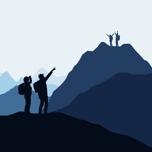 Two teams of climbers, men and women compete for victory or success. Loser and winner on the mountain - vector Two teams of climbers, men and women compete for victory or success. Loser and winner on the mountain - vector climbing stock illustrations