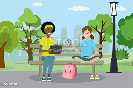 Two teen girls with gadgets are sitting on the bench in Public park,trees and buildings  on background,flat vector illustration