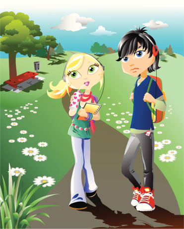 Two Teen Students in Park