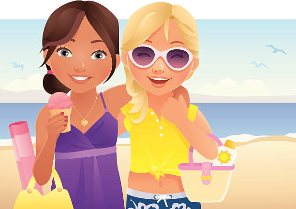 Two Teenage Girls going to the beach vector art illustration