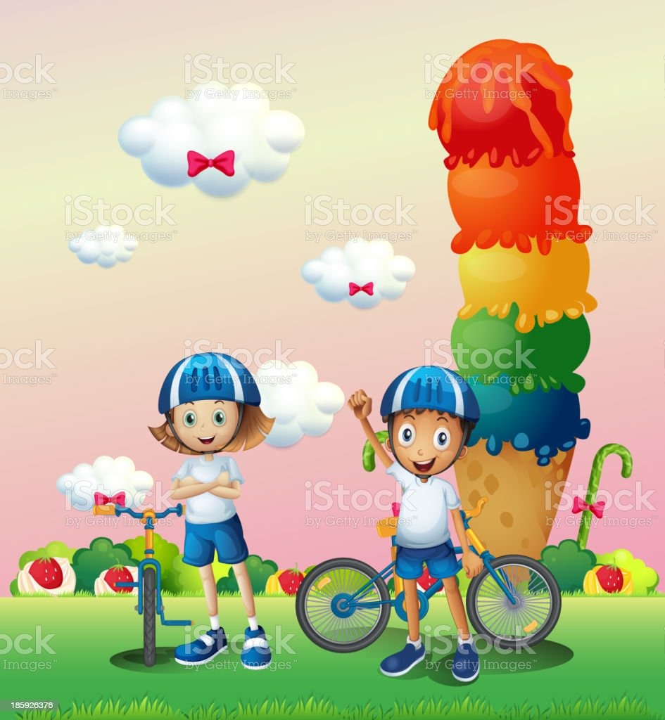 Two teenagers in a land full of sweets royalty-free stock vector art