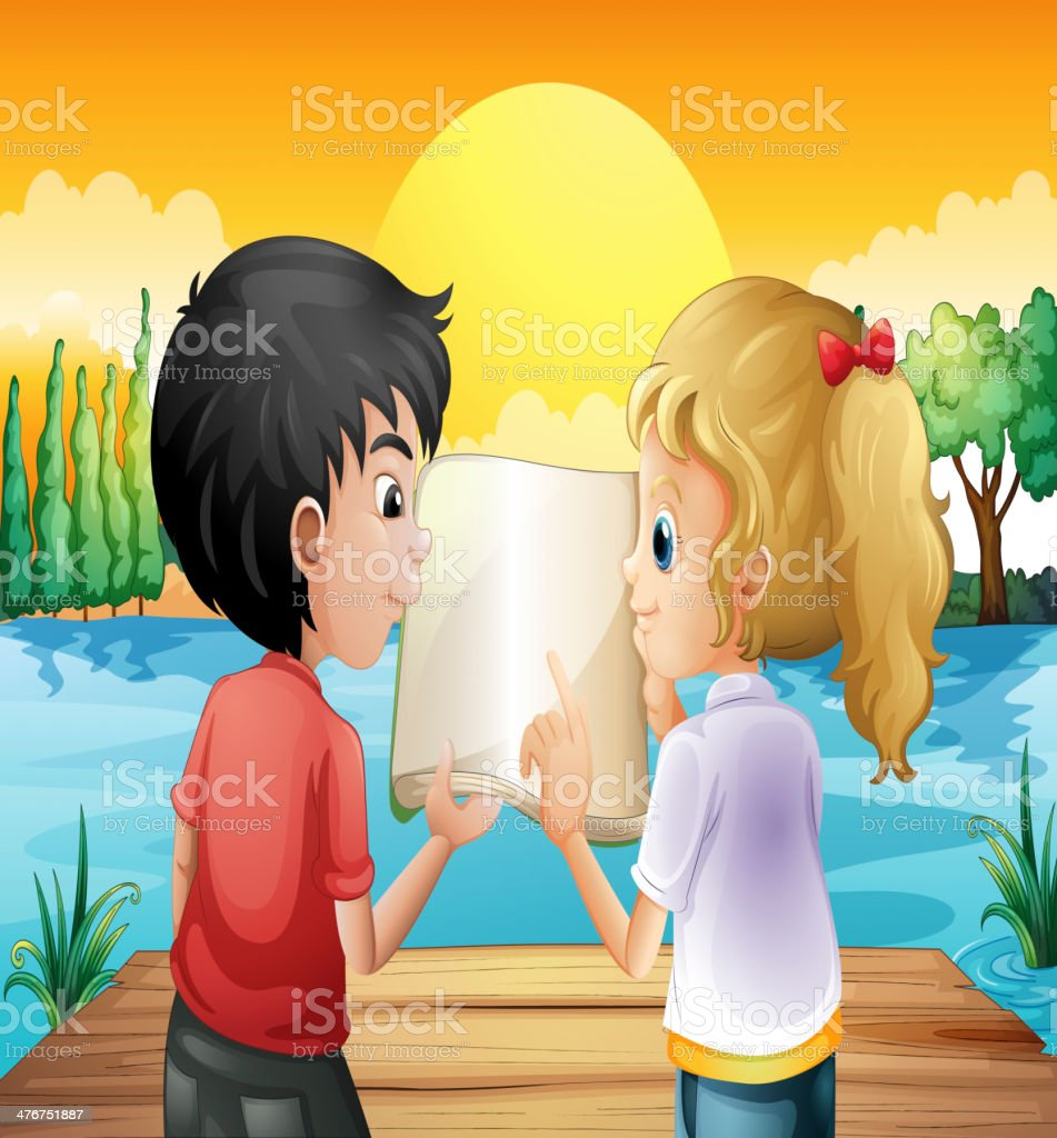 Two teenagers reading an empty book royalty-free stock vector art