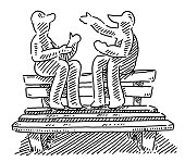 Two Teenagers Sitting On The Back Of A Park Bench Drawing