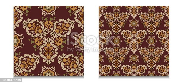 istock Two templates of vector floral patterns. Vintage seamless damask patterns. Decorative tiles with floral patterns. Brown,gold,beige,green color. 1348023745