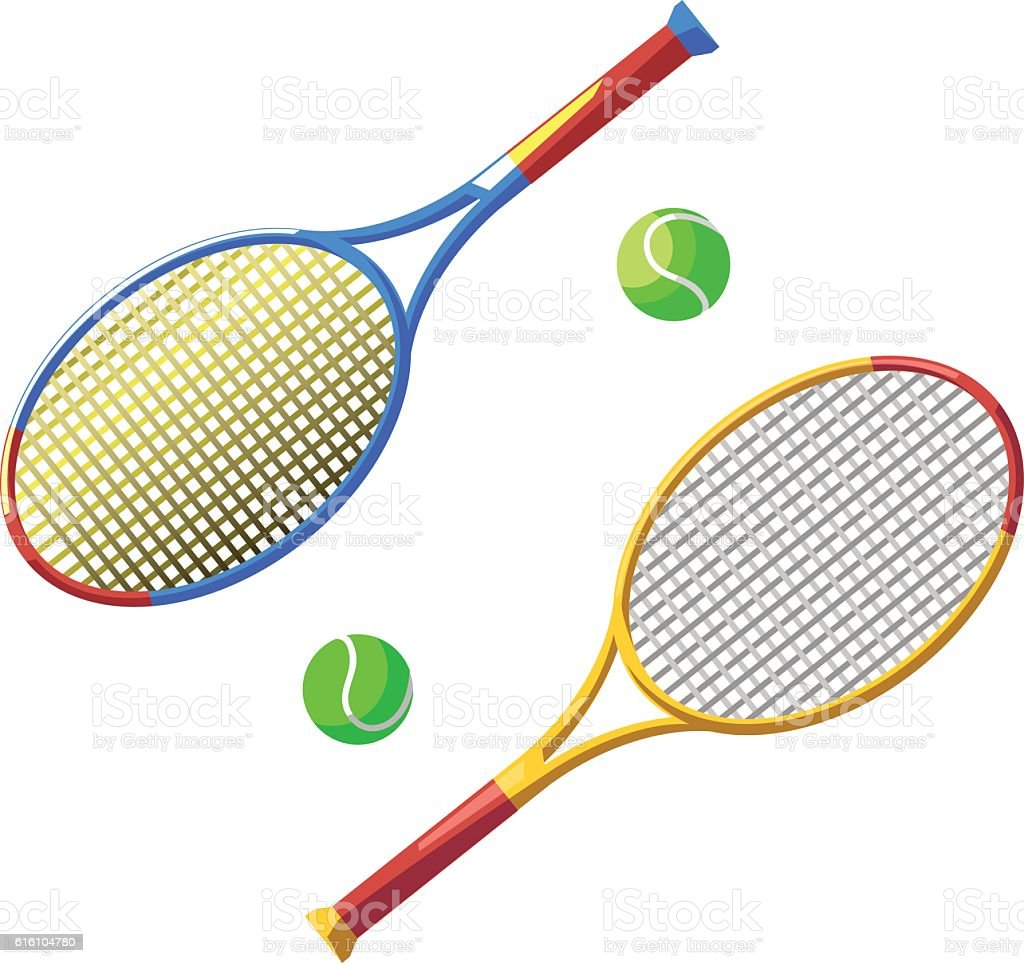 Two tennis racket and ball vector art illustration