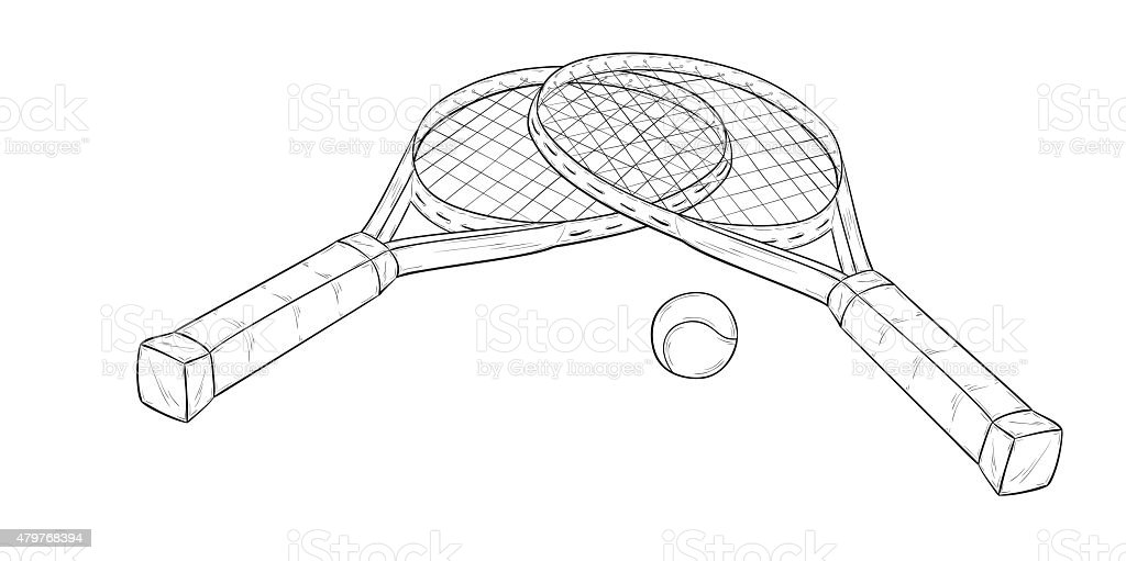 two tennis racquets and ball, sketch vector art illustration