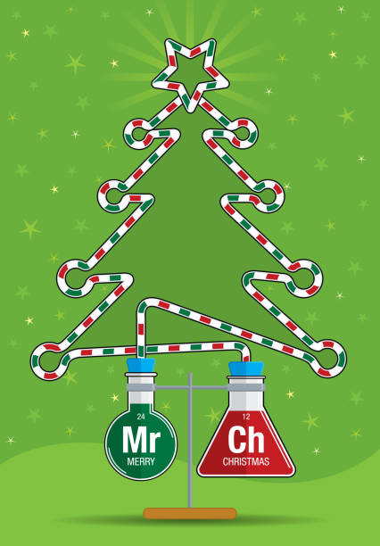 Two test tubes with red and green liquids inside connected by a glass tube that forms the silhouette of a Christmas tree Two test tubes with red and green liquids inside connected by a glass tube that forms the silhouette of a Christmas tree - Vector image alejomiranda stock illustrations
