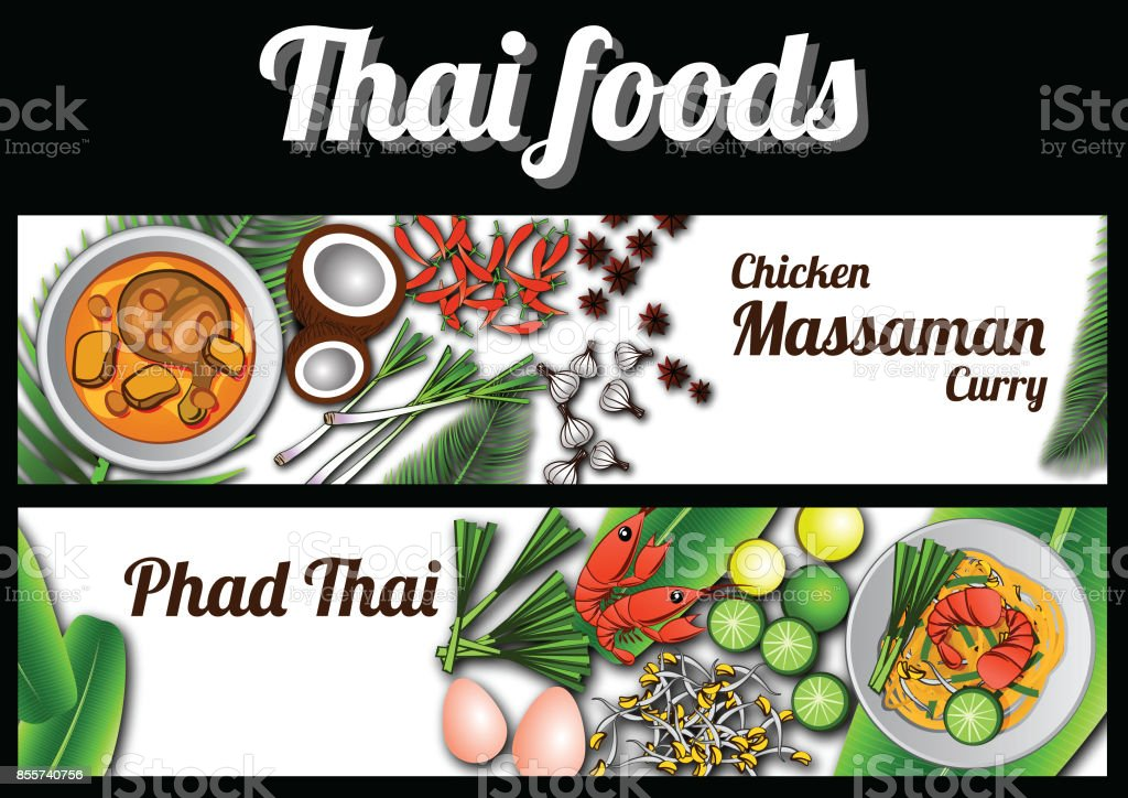 dos banner de comida tailandesa de la deliciosa y famosa, cojín tailandés frito stick fideos con camarones, Pollo Curry de Massaman y el ingrediente con fondo blanco - ilustración de arte vectorial