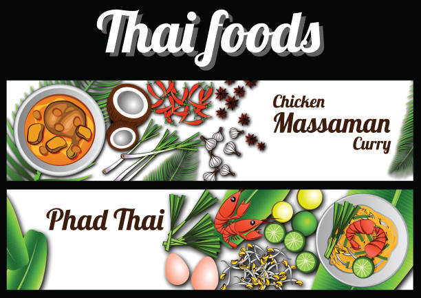two thai delicious and famous food banner,pad thai fried noodle stick with shrimp,massaman chicken curry and ingredient with white background - thai food stock illustrations, clip art, cartoons, & icons