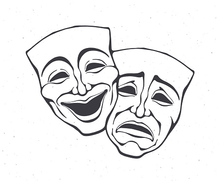 Two theatrical comedy and drama mask. Outline. Bipolar disorder symbol. Positive and negative emotion. Film and theatre industry.