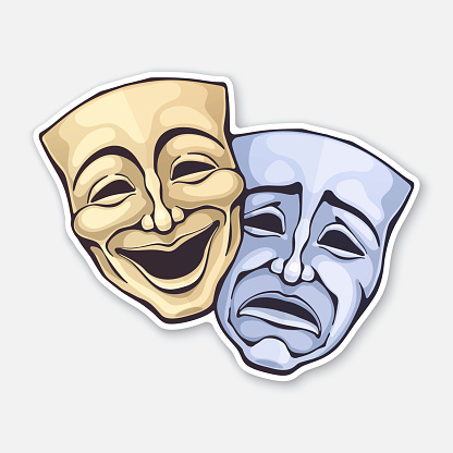 Two theatrical comedy and drama mask. Sickness in psychology of bipolar disorder. Positive and negative emotion. Movie industry