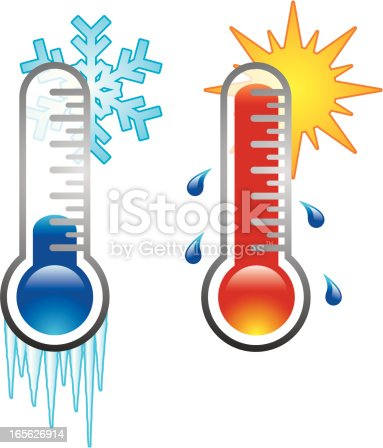 A set of two thermometer icons, one cold and one hot.