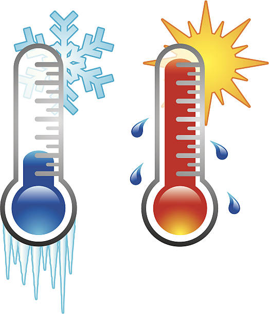 Two thermometers A set of two thermometer icons, one cold and one hot. heat temperature stock illustrations