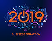 two thousand and nineteen text design on creative business success strategy. Concept modern template layout 2019 text surrounded by doodle icons