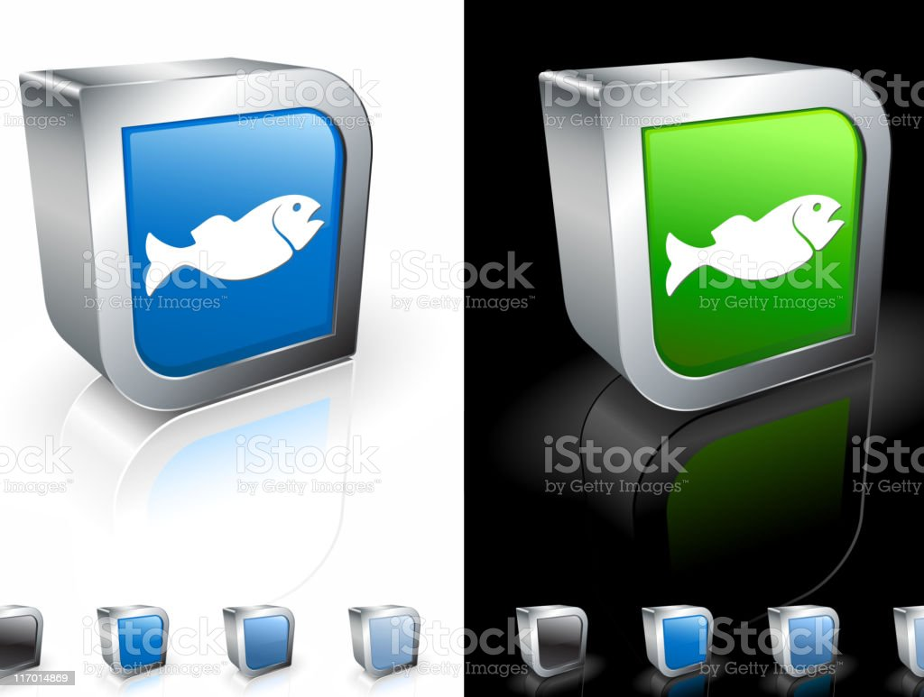 Two three dimensional bass fish icons. royalty-free stock vector art