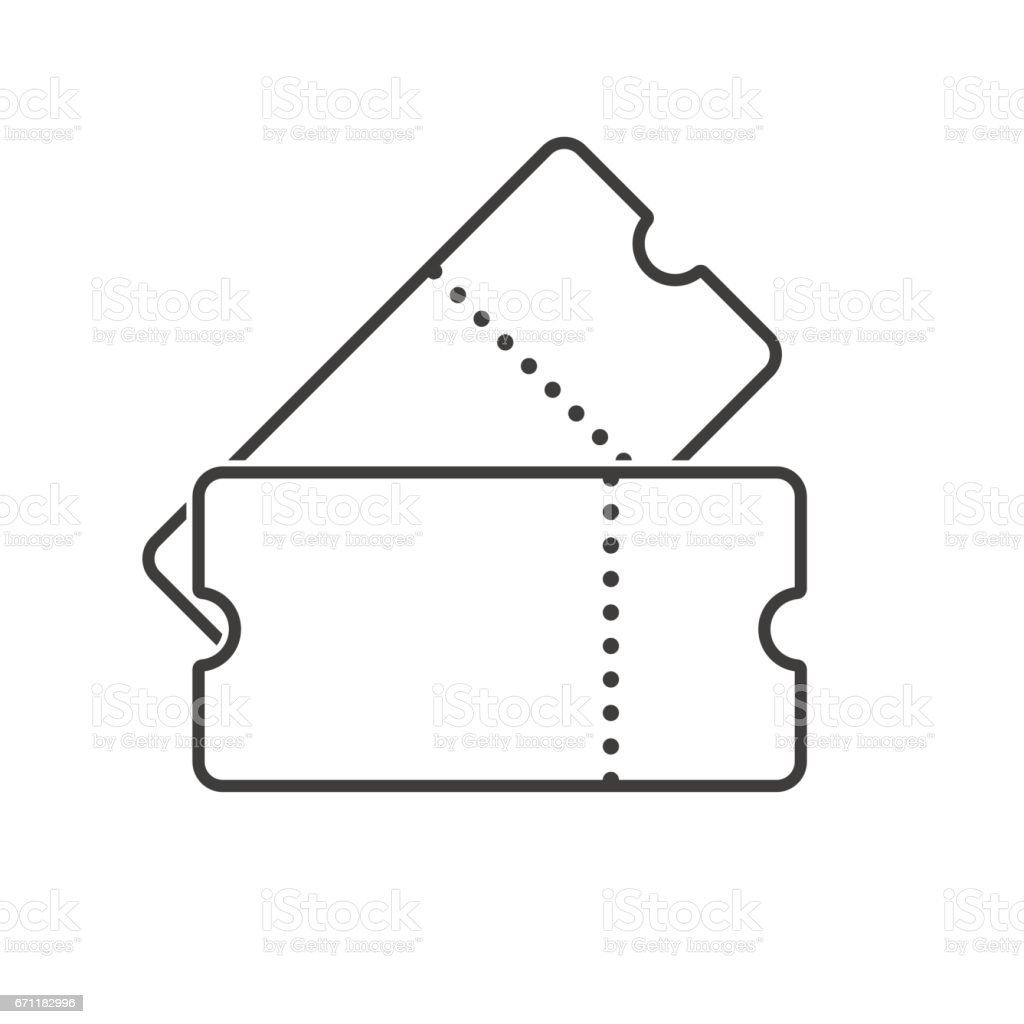 Two tickets line art. Outline tickets icon. Vector vector art illustration