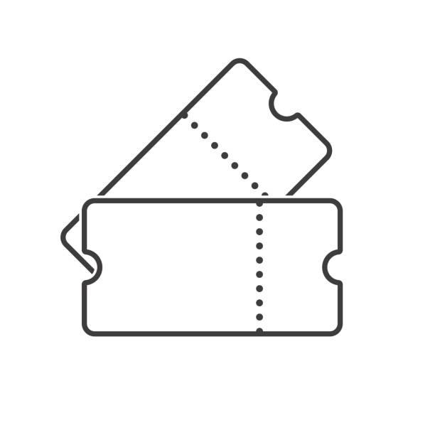 stockillustraties, clipart, cartoons en iconen met twee tickets lijntekeningen. overzicht kaartjes pictogram. vector - ticket