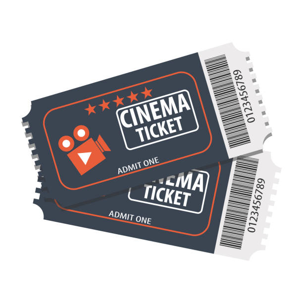 Two tickets to the movies. Vector cinema ticket. Cartoons movie tickets. Two tickets to the movies. Vector cinema ticket. Cartoons movie tickets. movie ticket stock illustrations