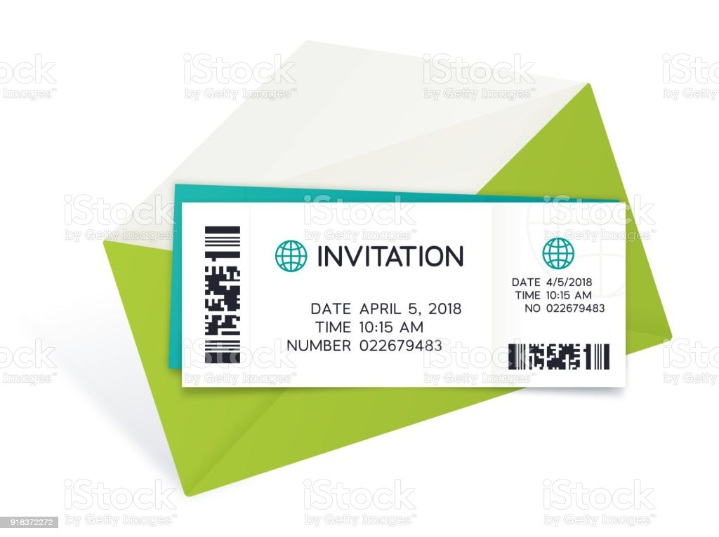 Two Tickets with Envelope vector art illustration