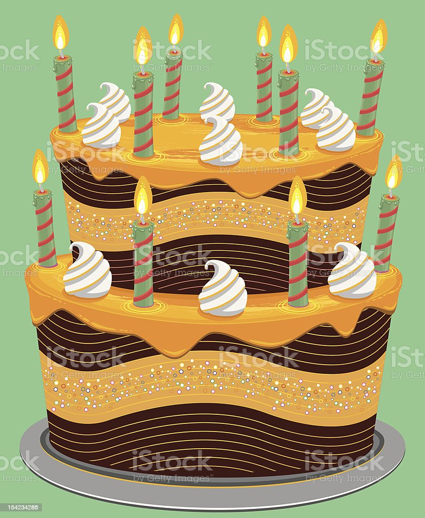 Two Tier Cheese Birthday Cake royalty-free stock vector art