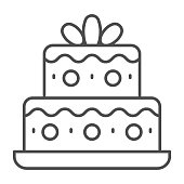 Two tiered birthday cake thin line icon, Birthday cupcake concept, holiday cake sign on white background, sweet dessert icon in outline style for mobile and web. Vector graphics