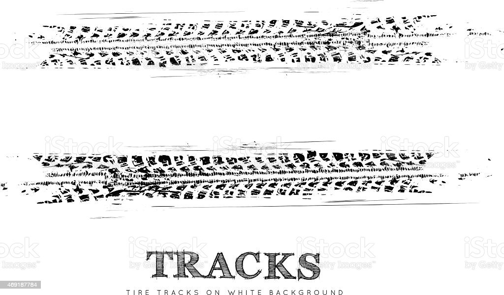 Two tire tracks on a white background vector art illustration