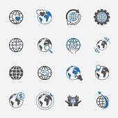 two tone global and world sign icons set. vector.illustration.
