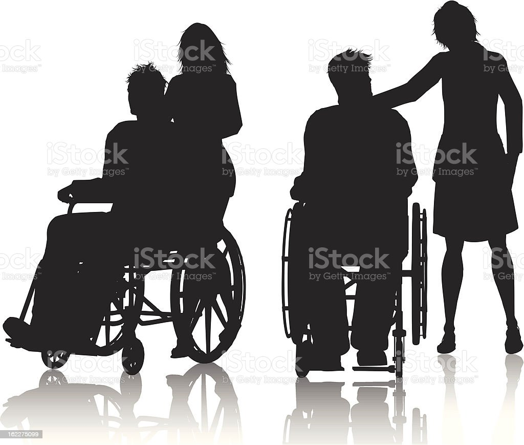 Two tone images of men in wheelchairs royalty-free stock vector art