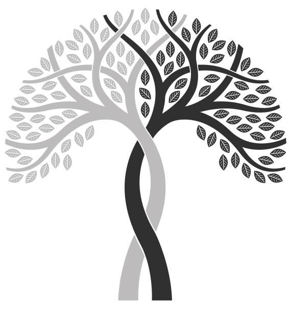 Two tone mono tree illustration vector art illustration