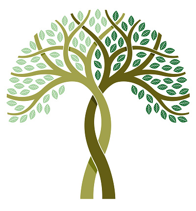 Two tone tree illustration