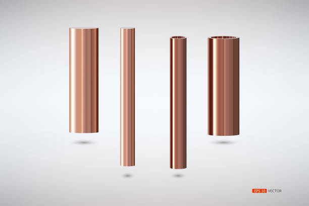 Two tons of copper pipes Two tons of copper pipes, hollow double bed size., Vector EPS 10 tube stock illustrations