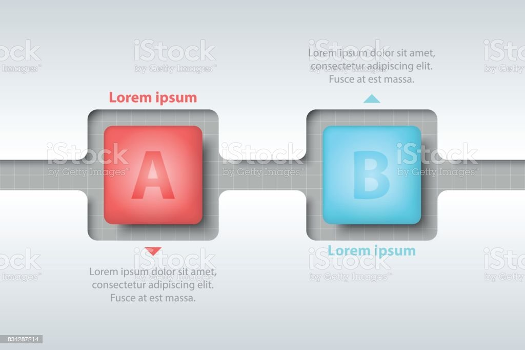two topics of colorful 3d square in timeline carve white template on