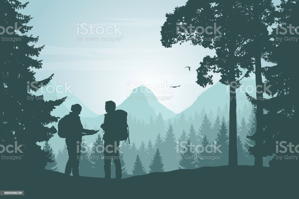 Two tourists walking through a mountain landscape with a forest looking for a path in the map under a morning sky with dawn - vector vector art illustration