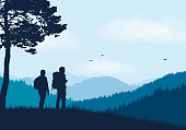 Two tourists with backpacks standing in mountain landscape with forest, under blue sky with clouds and flying birds - vector