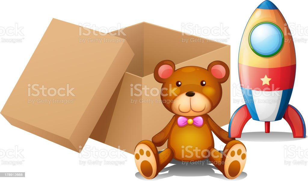 Two toys beside a box royalty-free stock vector art