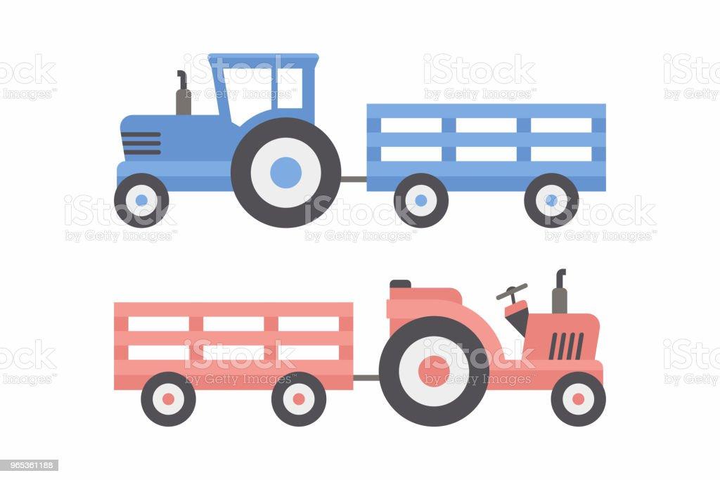 Two Tractor with trailer two tractor with trailer - stockowe grafiki wektorowe i więcej obrazów ciężarówka royalty-free