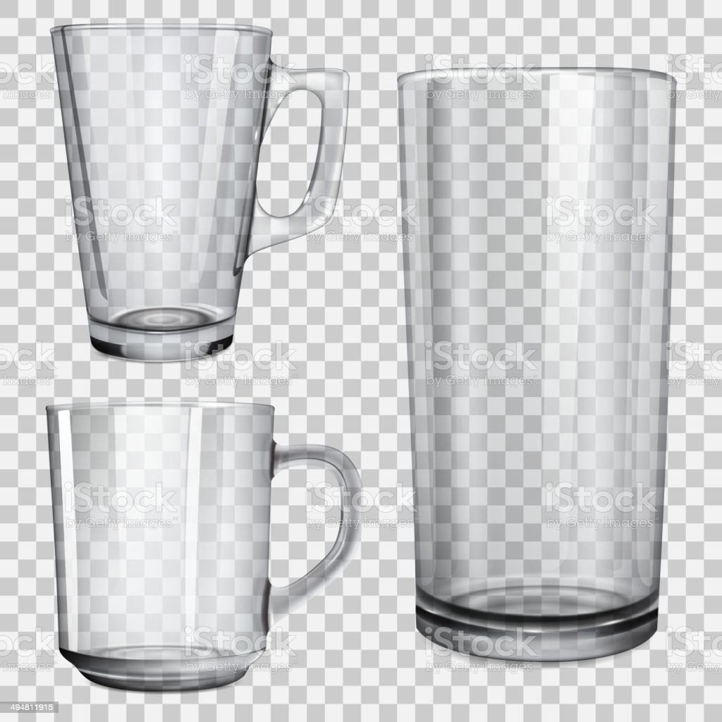 Two transparent cups and one glass for juice vector art illustration