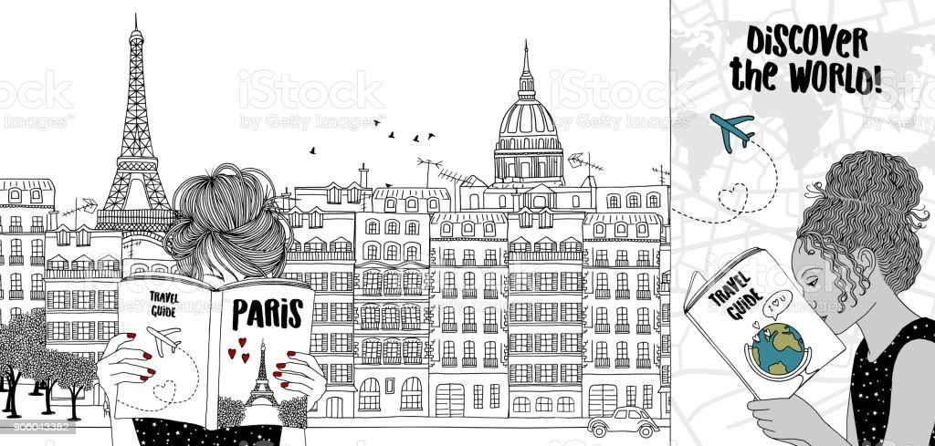 Two travelling through Paris vector art illustration