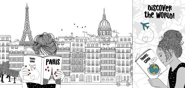 Two travelling through Paris Hand drawn illustration of two girls reading tourist guides, with the skyline of Paris in the background paris black and white stock illustrations