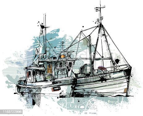 Two Trawlers with blue Colors, hand drawn Vector image reduced to one layer. Isolated on white background.